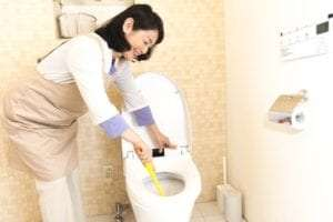 Woman cleaning the toilet.